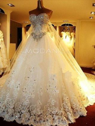 A-ligne robe de mariée romantique organza et satin paillette longueur au sol en dentelle [#M1407166092] - modanie