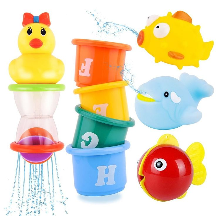 Baby Bath Shower Floating Toys Stacking Cup Shapes Net Storage Bag Toddlers Kids