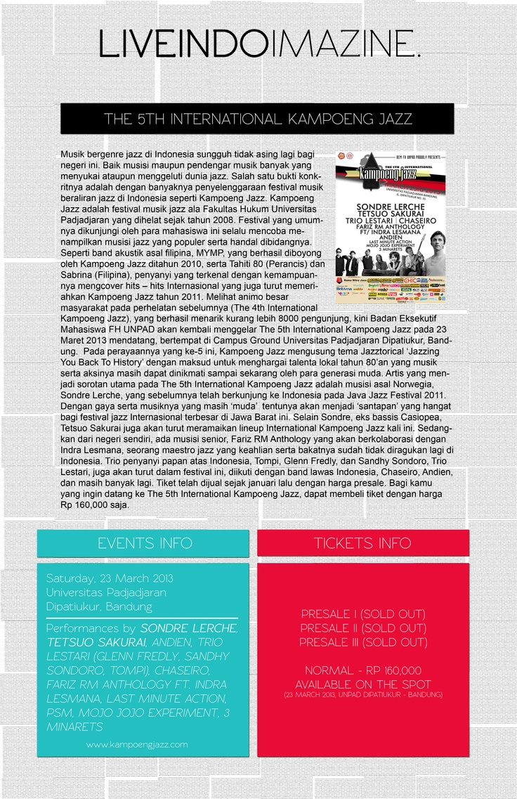 Special Issue : KAMPOENG JAZZ