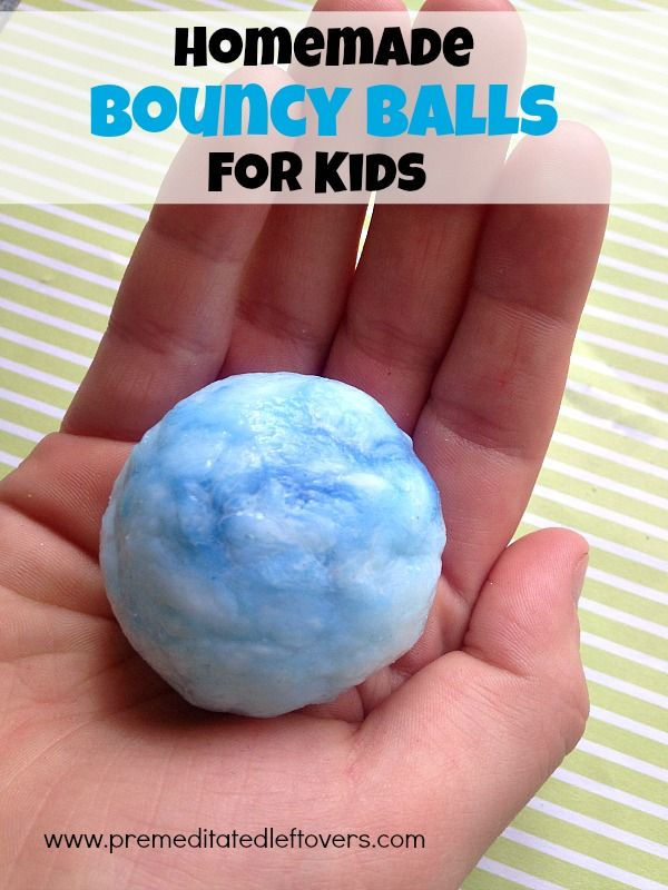 "Your kids will jump for joy with this easy bouncy ball recipe! Learn how to make your own from borax, cornstarch, and glue with ""Premeditated Leftovers""."