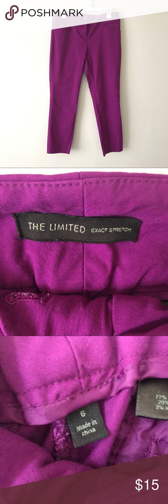 """The Limited purple Capri skinny pants Super comfy fuschia skinny capri pants from The Limited! These pants are in great condition! Pockets in the front and back. Buttons and zippers in front. Waist measures 16"""" across. Pants are 34"""" in length. Inseam is 25"""". *PRICED TO SELL The Limited Pants"""