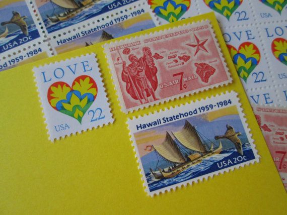 Aloha Hawaii ... Unused Vintage Postage Stamps ... Enough to Mail 5 letters 2014 Postage Rate on Etsy, $6.95