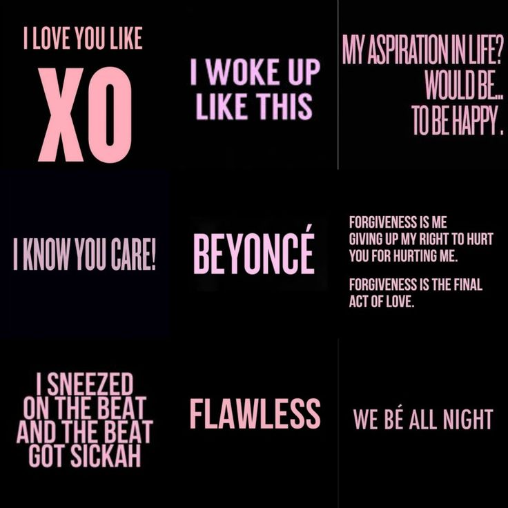 -Beyonce-  Lyrics from the album BEYONCE Songs: Flawless,Drunk In Love,Pretty Hurts,XO,  Partition,and 7/11. Created with Picmonkey From Tracy Thai
