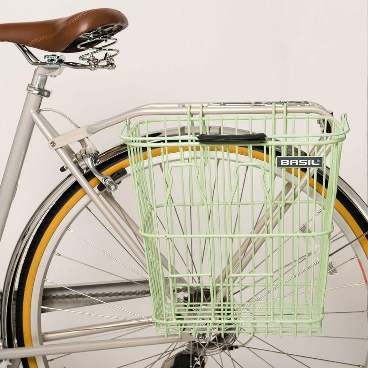 Basil Rear Milk Bottles Bike Basket in Green | Cyclechic | Cyclechic