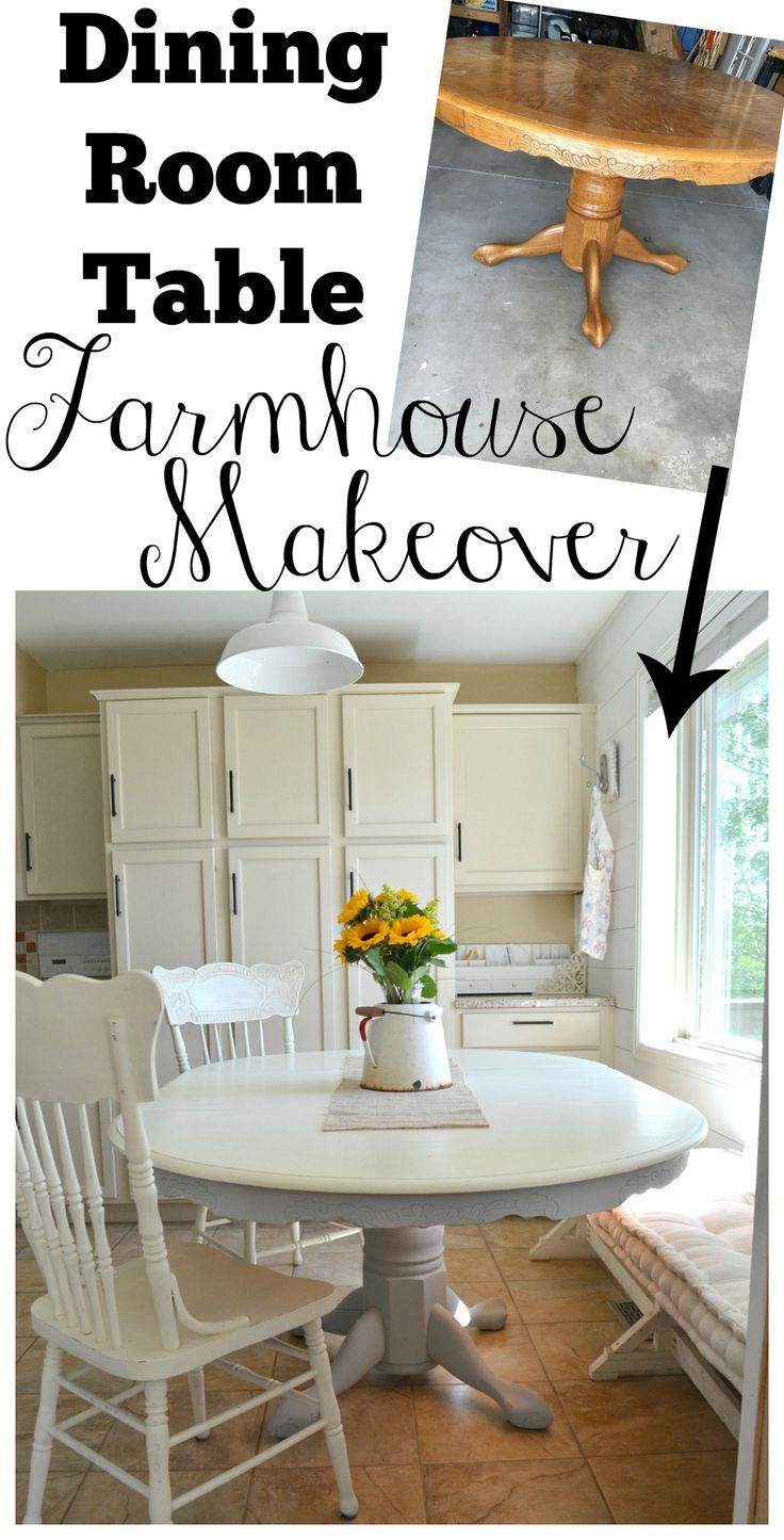 Dining Room Table Farmhouse Makeover with Chalk Paint