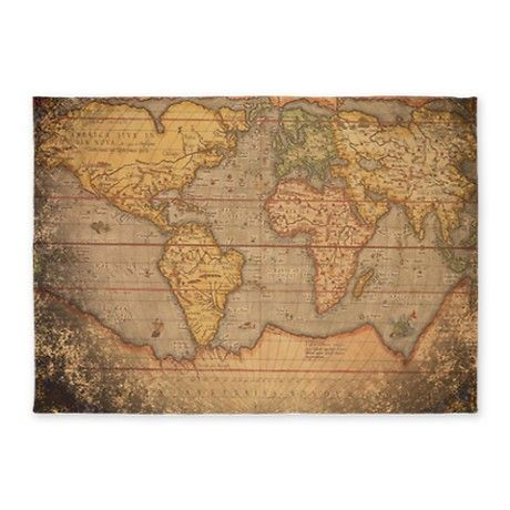world maps rugs | Antique Gifts > Antique Bedding > Vintage Old World Map 5'x7'Area Rug