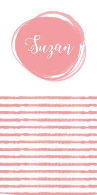 Geboortekaartje met roze strepen, pijltjes en sierlijke tekst