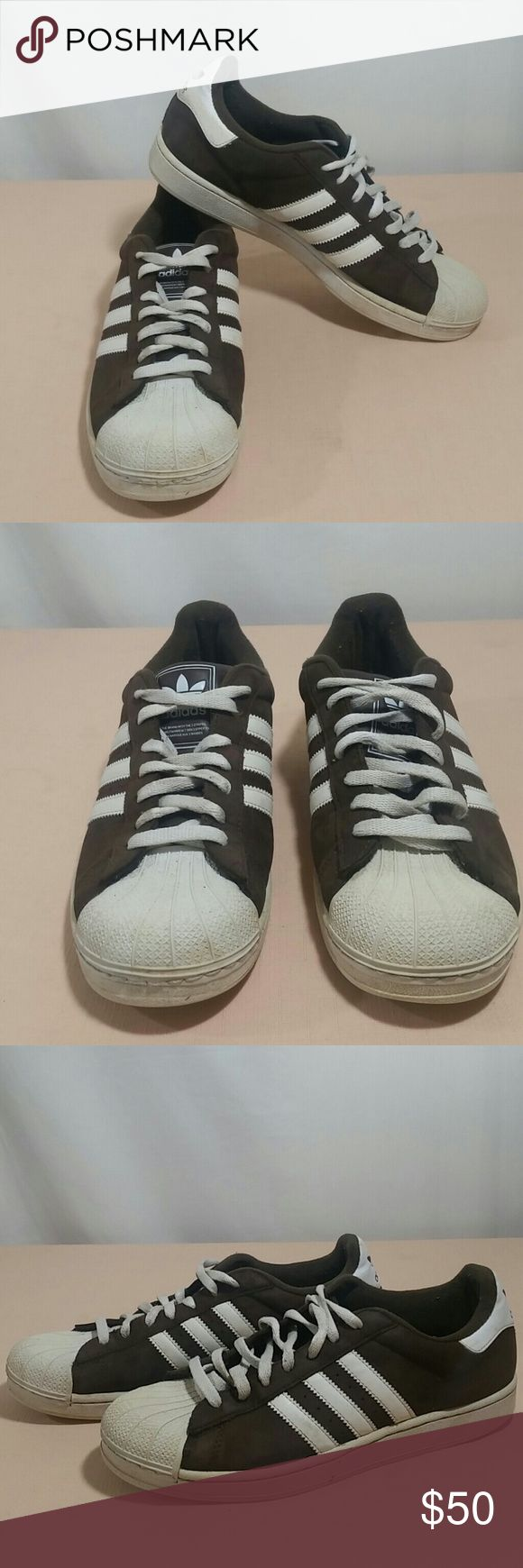 ADIDAS ORIGINAL SUPERSTAR Sneakers Size 9 1/2 Stylish ADIDAS ORIGINAL SUPERSTAR Sneakers.   This pair of Sneakers with brown waxed suede,  and rubber shell tops are classic and comfortable.   This pair of Sneakers are a size 9 1/2.  This pair of ADIDAS ORIGINAL SUPERSTAR Sneakers are in very good condition. Adidas Shoes Sneakers