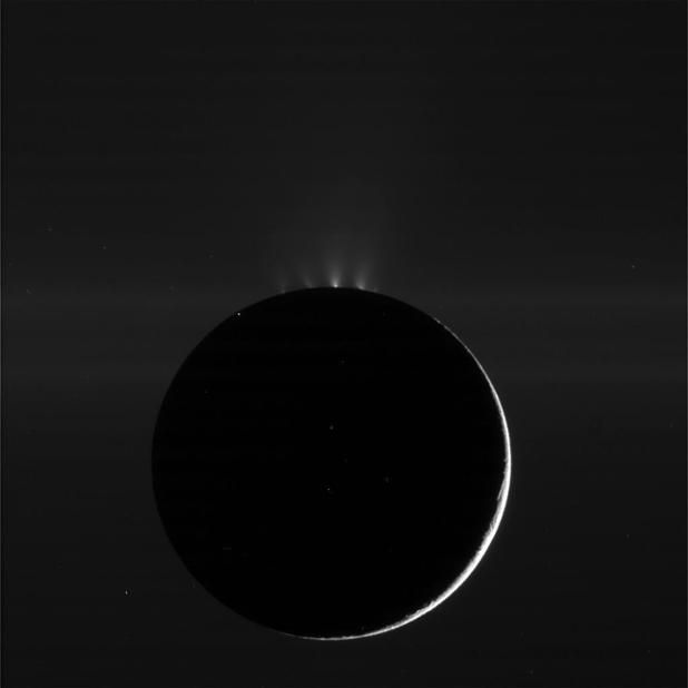 Enceladus (moon of Saturn) showing fountains of water vapor and ice
