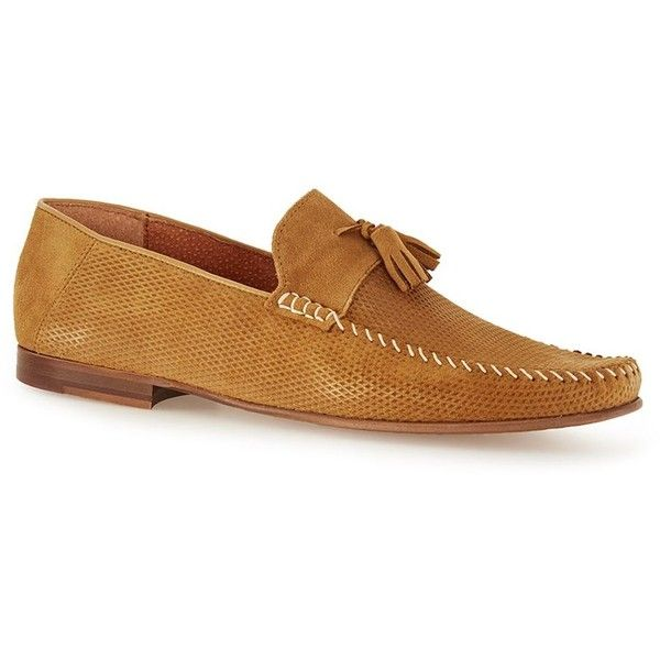 TOPMAN Tan Suede Tassel Loafers ($70) ❤ liked on Polyvore featuring men's fashion, men's shoes, men's loafers, brown, suede tassel loafers mens shoes, mens tassel shoes, mens loafer shoes, mens brown loafer shoes and mens tan suede shoes