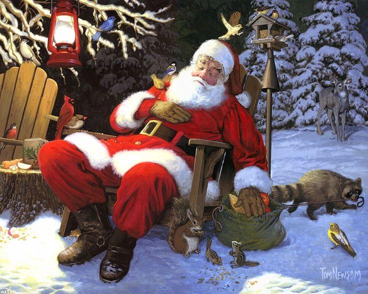 Скачать обои  Новый год, Рождество, зима, Санта-Клаус и лесные звери, Tom Newsom 1280x1024