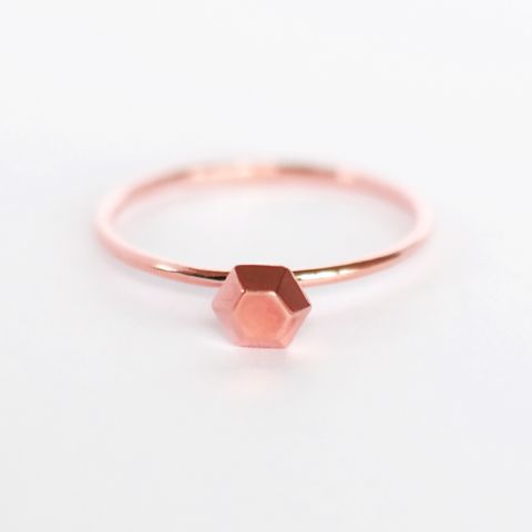 Rosegold-plated, Sterling Silver<br>Diamond Crystal Ring