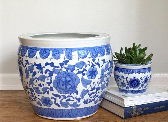 Large Vintage Chinese Fishbowl Planter Blue White Ceramic
