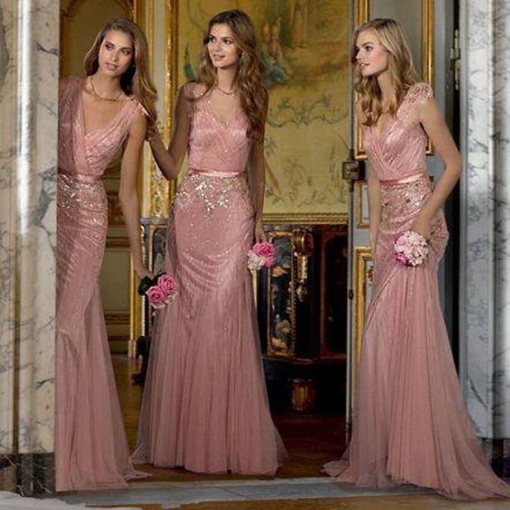 Красивый румянец розовые платья невесты с лентой створки пола длинные блестящие бисера блестками V шеи русалка свадебное ну вечеринку платье