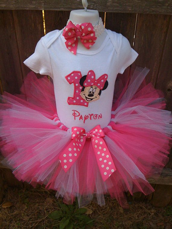Hot Pink  and White Minnie Mouse  Birthday Tutu by confettydesigns, $45.00