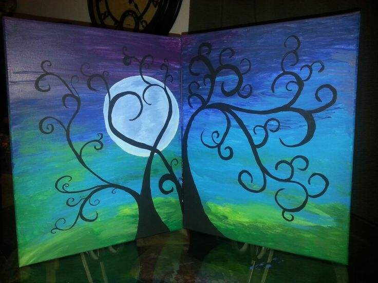 Date night paint night. (wine and canvas moon)