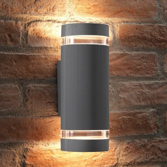 Auraglow Outdoor Double Up Down Wall Light Elton Silver Up