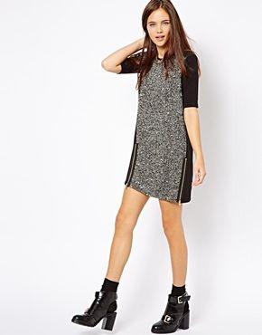 River Island Textured Tweed Dress with Zip Detail -- $60