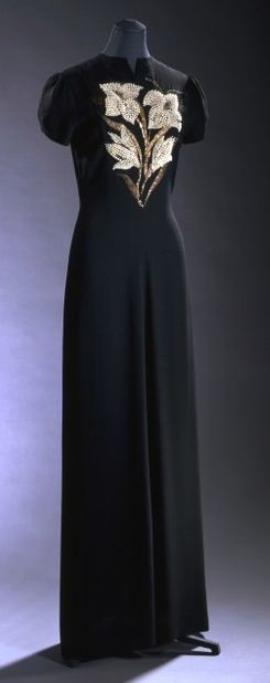 France. 1940 dress // by Elsa Schiaparelli Reminds me of my favourite black beaded vintage dress. Maybe it was a copy of one of these designs?