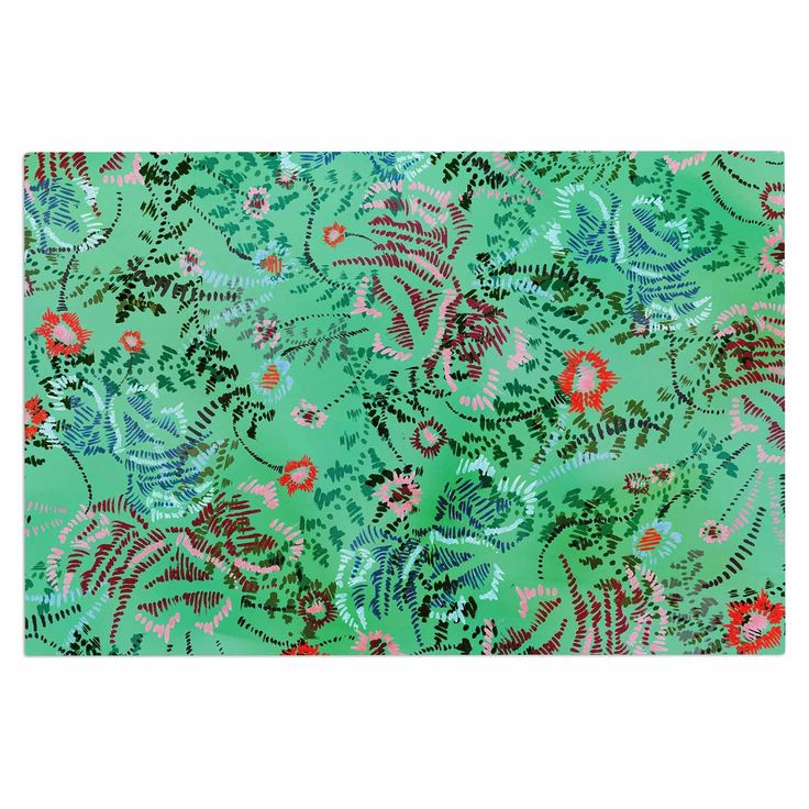 "Fernanda Sternieri ""African Romance In Green"" Green Floral Decorative Door Mat"
