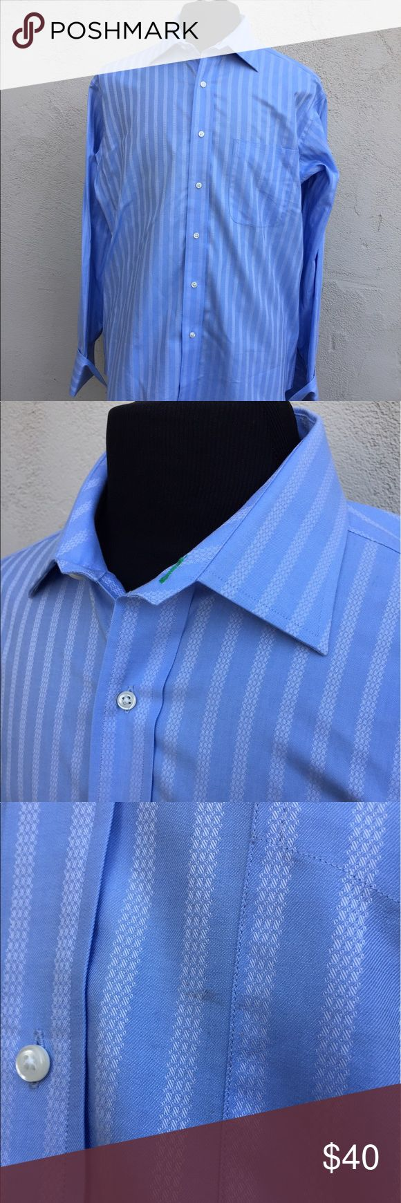 Tommy Hilfiger Vintage Striped French Cuff shirt-L Tommy Hilfiger Vintage Striped French Cuff shirt. Size Large in Blue. Small worn mark shown in picture. Gently used in good condition. Tommy Hilfiger Shirts Dress Shirts