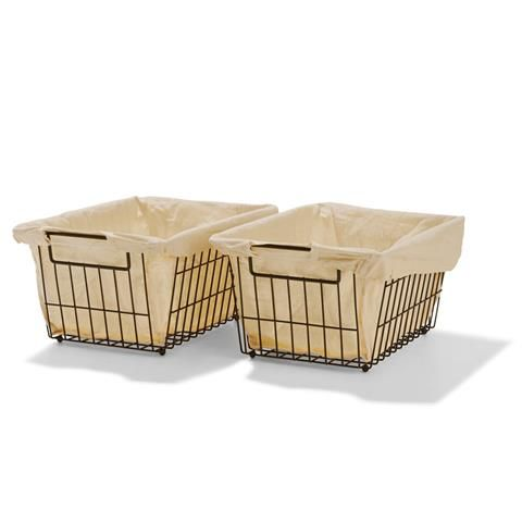 Wire Baskets with Liner - Black, Set of 2