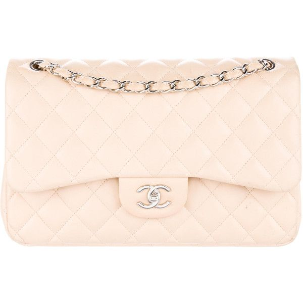Pre-owned Chanel Classic Jumbo Double Flap Bag (€2.945) ❤ liked on Polyvore featuring bags, handbags, neutrals, genuine leather handbags, leather man bags, pink purse, quilted purses and pink handbags