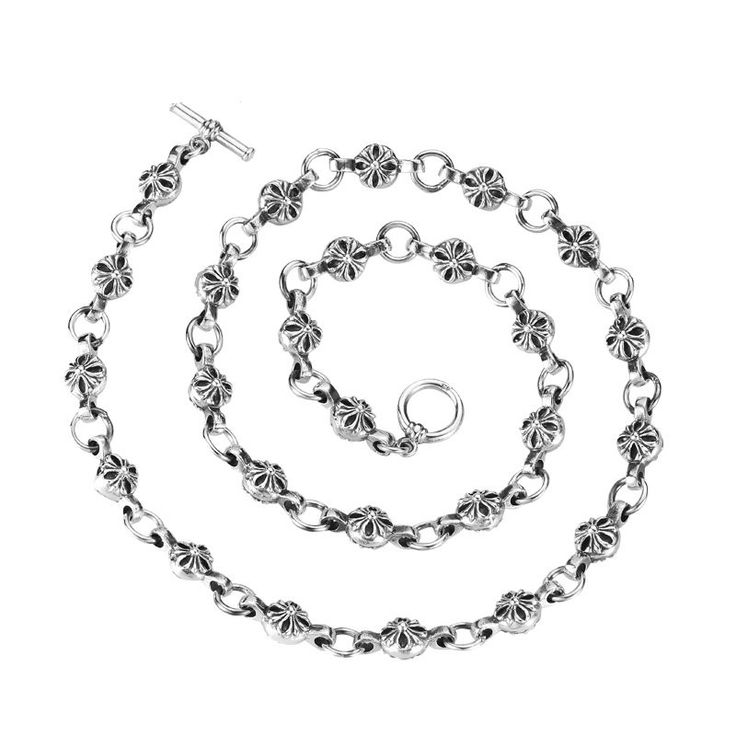 Unique High Quality 925 Sterling Silver Chrome Hearts Cross Link Chain Necklace Jewelry Gift For Men
