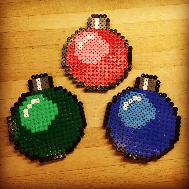 Hama perler bead Christmas baubles by christeaandcakes
