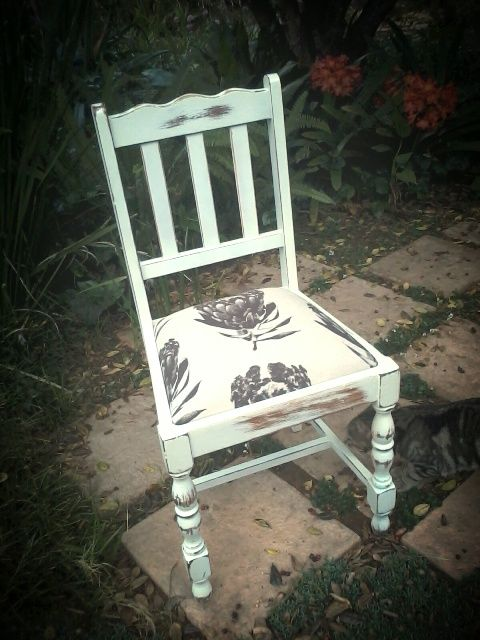Vintage dining chair: painted antique white and distressed with protea printed upholstery.