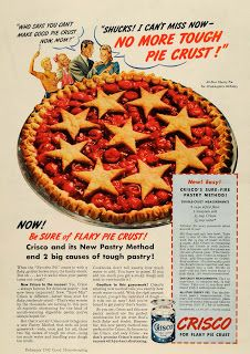 1942 Crisco Ad with an overcomplicated pie crust recipe Homemade apple pie, what can bring out colors in any patriotic American more tha...