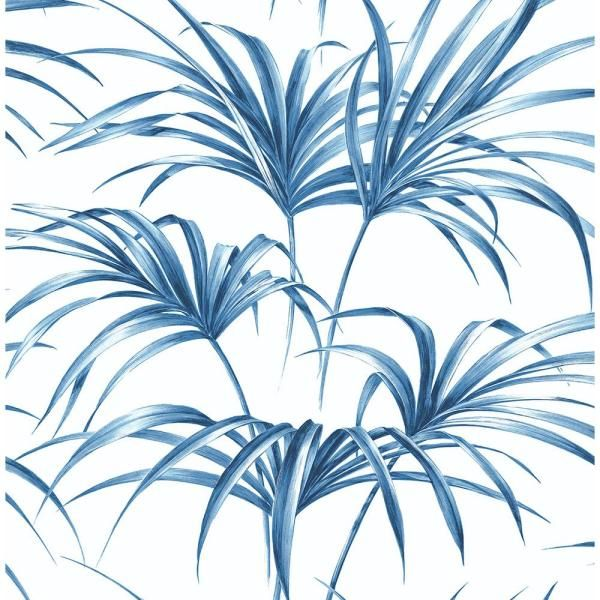Nextwall Tropical Palm Leaf Coastal Blue Vinyl Peelable Roll Covers 30 75 Sq Ft Nw32502 The Home Depot Palm Leaf Wallpaper Peel And Stick Wallpaper Leaf Wallpaper