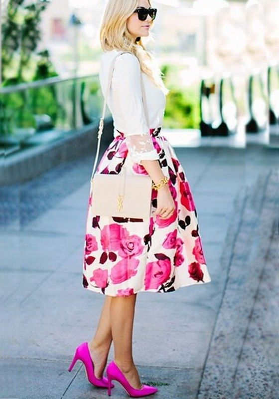 Beige Floral Print Pleated Below Knee Mid-rise Retro Fashion Skirt