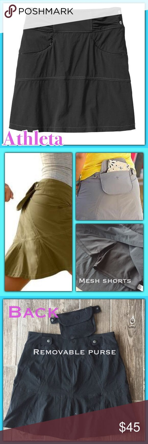 🍄Triple Threat Athleta Hit The Trail Skort BLK. ❤️❤️ New Hit The Trail Skort - Black❤❤ Super cute all purpose skirt great for hiking, traveling or a day away from home. NEW DESCRIPTION: The lightweight, abrasion-resistant ripstop skort that's made for the great outdoors and features a rear passport/map pouch that snaps off into a purse. Skirt 85% nylon, 15% spandex, shorts 90% polyester, 10% spandex. ❤️ 📦 Ship same or next day 📦❤️ Cristadoll ❤️ Please use offer button Athleta Skirts