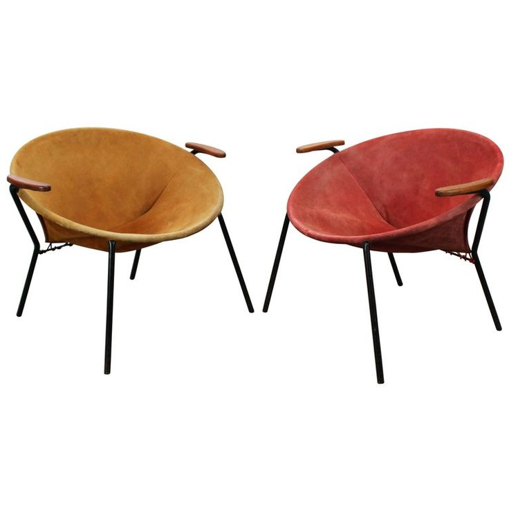 Pair of Colorful Balloon Lounge Chairs by Hans Olsen Teak Red Yellow Black, 1950 | From a unique collection of antique and modern lounge chairs at https://www.1stdibs.com/furniture/seating/lounge-chairs/