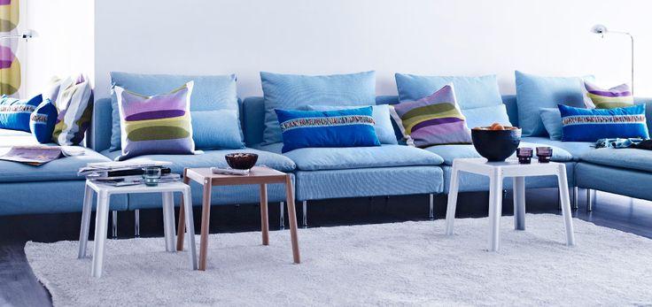 ikea sterreich ein gro es wohnzimmer mit s derhamn polstergruppe mit bezug isefall. Black Bedroom Furniture Sets. Home Design Ideas