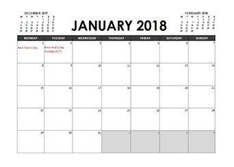 2018 Calendar Planner Malaysia holidays