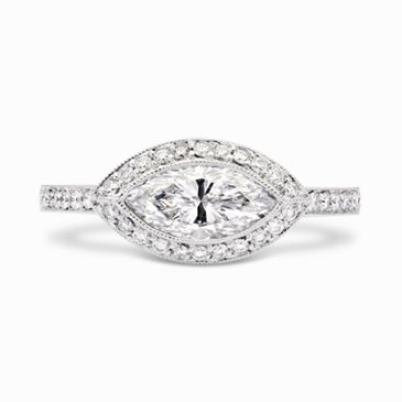 East/West Marquise Cut Diamond Ring  Set in the same direction as its amorous, diamond-studded platinum shank, the 1.14ct H-SI1 marquise cut diamond heading the piece stares beautifully back at [...]