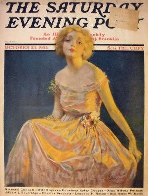 Film star Helen Twelvetrees is discovered thanks to this illustration by George Bradshaw Crandall commissioned for the cover of the Saturday Evening Post, October 23, 1926 edition. Click through to read about Twelvetrees in her breakthrough role, Pathe's HER MAN (1930).