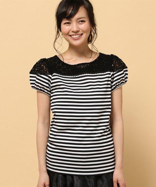 DOLLY GIRL BY ANNA SUI(ドーリーガールバイアナスイ)のフラワーレースコンビ Tシャツ(Tシャツ/カットソー)|詳細画像