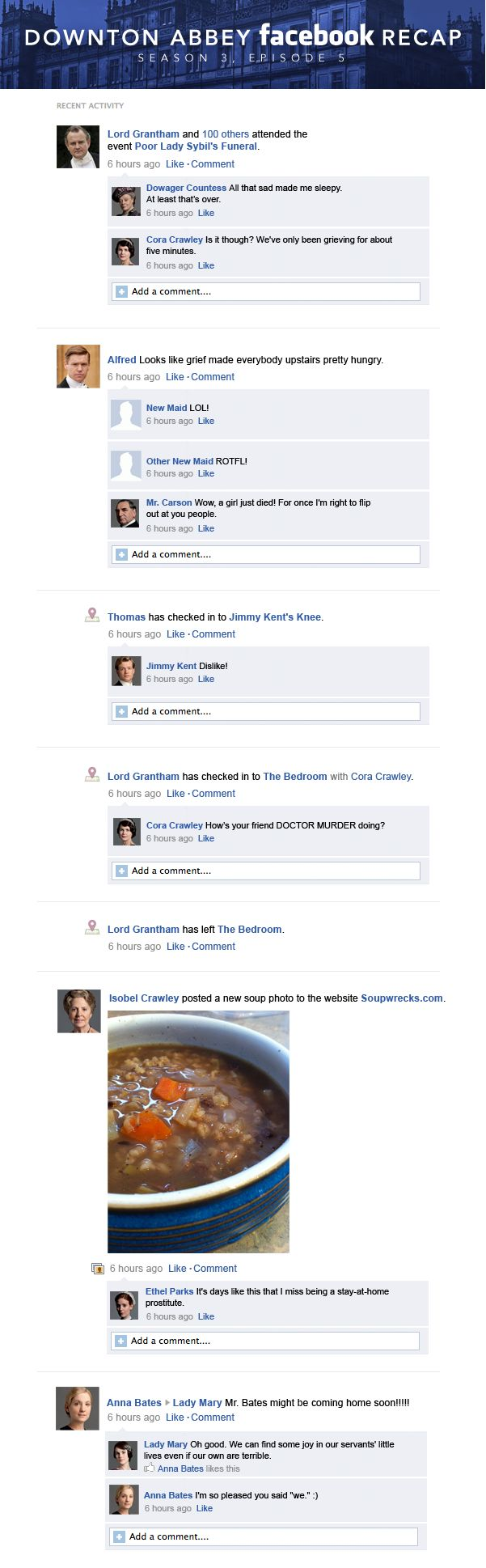 Downton Abbey Facebook Recap Season 3 Episode 5. ;-)