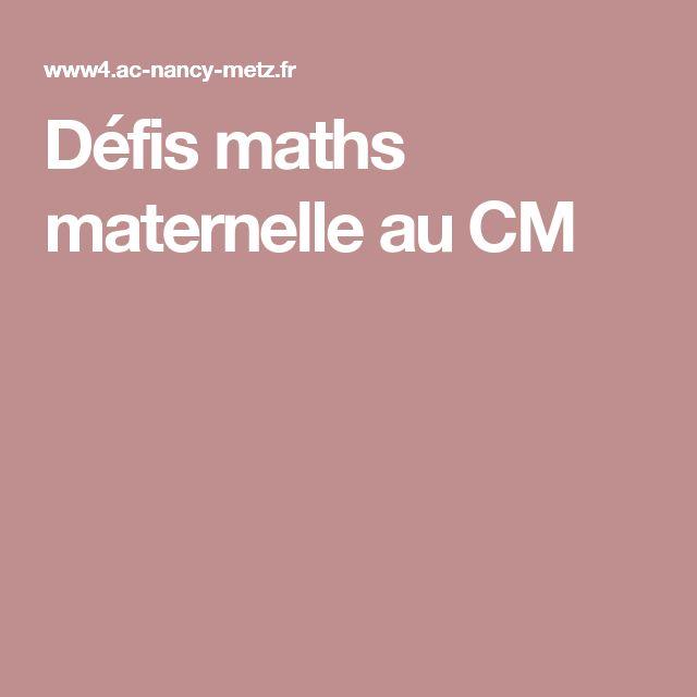 Défis maths  maternelle au CM