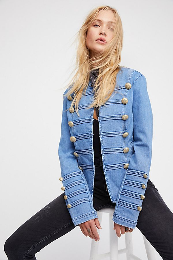 851a41c168c404 Slide View 1  Fitted Military Denim Jacket