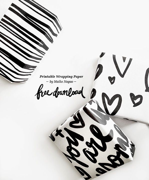Free printable wrapping paper || hand lettering by Maiko Nagao