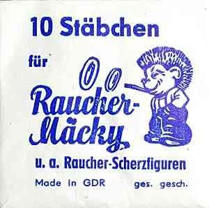 """Glimmstengel-Nachschub: """"10 Stäbchen für Raucher-Mäcky u.a. Raucher-Scherzfiguren"""" - """"Made in GDR"""""""