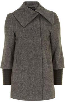 Grey contrast sleeve wrap coat on shopstyle.com