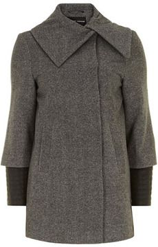 Grey contrast sleeve wrap coat on shopstyle.com