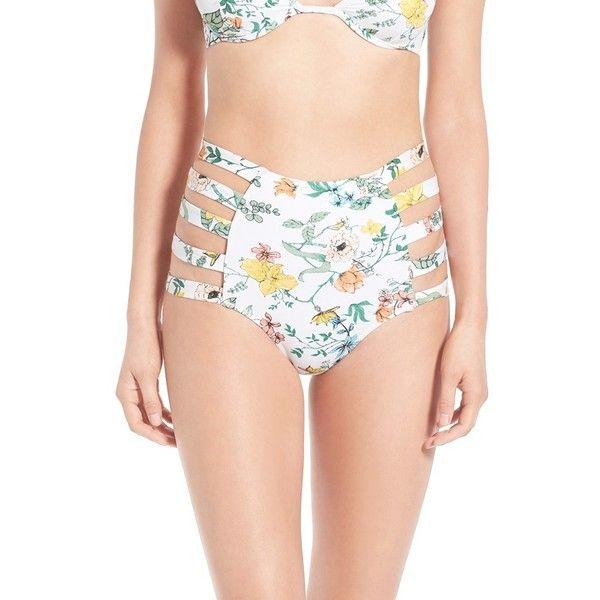 Somedays Lovin 'Sunny May' Floral Print Cutout High Rise Bikini... ($69) ❤ liked on Polyvore featuring swimwear, bikinis, bikini bottoms, white, floral bikini, high rise bikini bottom, white floral bikini, high-waisted swimwear and floral high waisted bikini bottoms