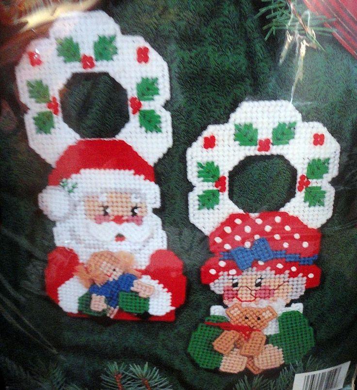 Bucilla Plastic Canvas Mr Amp Mrs Santa Claus Door Hangers