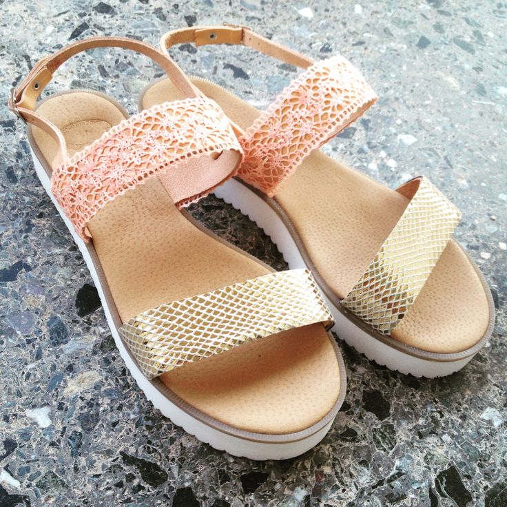Handmade leather sandals. Flatforms gold snake and lace. Feel the love by Rena Xenou
